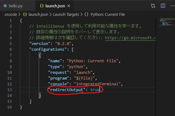 """redirectOutput"": trueを追加"